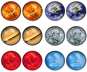 LilMents 6 Pairs Solar System Unisex Earrings