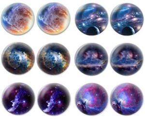 LilMents 6 Pairs of Galaxy Earrings